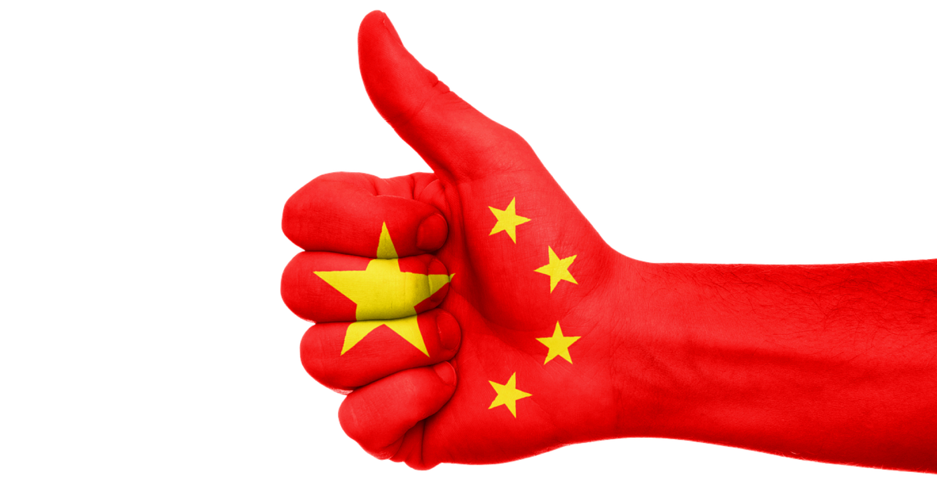 China Flagge Daumen-uo Hand Geste